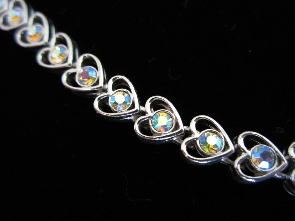 Vintage Heart Shaped Bracelet with AB Rhinestones ~ 1/2 OFF!