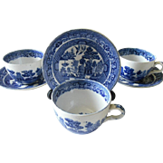 Buffalo Pottery Blue Willow Cups and Saucers, Set of 4