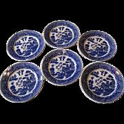 Japanese Blue Willow Dinner Plates, Set of 6