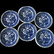 Japanese Blue Willow Bread & Butter, Dessert Plates, Set of 6