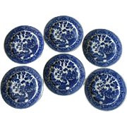 Japanese Blue Willow Bread & Butter, Dessert Plates, Set of 6