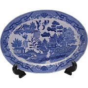 20th Century Japanese Blue Willow Platter