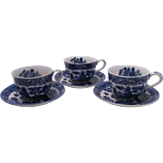 Old Japanese Blue Willow Cups and Saucers, Set of 3 ~ REDUCED!