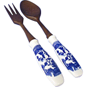 Japanese Blue Willow Salad Server Set
