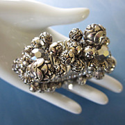 Vintage Silver Tone Roses Cha Cha Expansion Bracelet signed JAPAN ~ REDUCED!!!