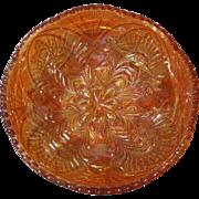 Swedish Marigold Hued Carnival Glass Bowl, Eda Glassworks