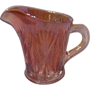 Marigold Carnival Glass Creamer, Split Diamond Pattern, England