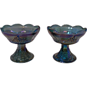 Indiana Glass Iridescent Blue Carnival Glass Candlesticks