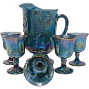 Indiana Glass Blue Carnival Glass Pitcher and Set of 5 Goblets