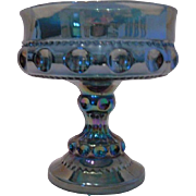 Indiana Glass Blue Carnival Glass Compote