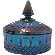 Carnival Glass Blue Candy Dish, Indiana Glass