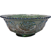 Imperial Green Open Lustre Carnival Glass Bowl
