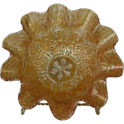 Dugan Gold Carnival Glass Bowl in Garden Pattern