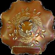 Rare 1920's Fenton Amber Carnival Glass Ruffled Bowl in Acorn Pattern