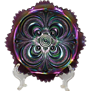 Imperial Amethyst Carnival Glass Scroll Embossed Bowl