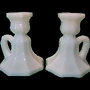 Pair of Milk Glass Octagon-Shaped Candlesticks