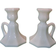 Pair of Milk Glass Octagon-Shaped Candlesticks ~ REDUCED!