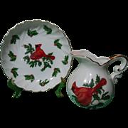 Lefton Christmas Cardinal Holiday Petite Pitcher & Basin Set