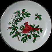 Lefton Christmas Cardinal Holiday Plate Dish
