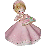 Josef Original Pink Garbed Little Flower Girl Figurine