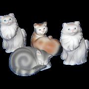 Avon Set of 4 Porcelain Bisque Cats, 1984