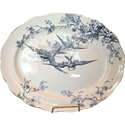 English Powell, Bishop and Stonier, PB&S Large Swallow Platter, Blue and White Earthenware