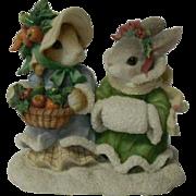 Enesco Blushing Bunnies Series Porcelain Figurine, Bountiful Harvest