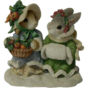 Enesco Blushing Bunnies Series Porcelain Figurine, Bountiful Harvest