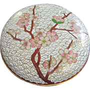 Vintage Cloisonne Lidded Bowl Cherry Blossoms