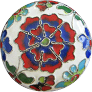 Brightly Colored Petite Mini Cloisonne Bowl with Lid or Trinket Box