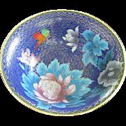 Vintage Cloisonne Enamel Bowl in Cobalt Blue