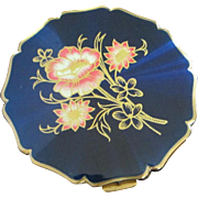 Vintage Stratton Midnight Blue Floral Compact