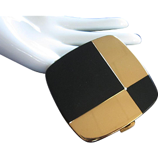 Emrich Black Enamel and Gold Tone Compact Made in West Germany