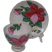 Hawaiian Flowers Red Hibiscus Bone China Cup and Saucer