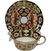 Aynsley of England Navy, Orange and Gold Flowers Cup and Saucer
