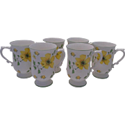 Set of 6 Bone China Pedestal Mugs with Bright Yellow Flowers, Wade of England