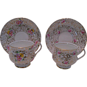 2 Sets of Floral Inspired Bone China Cups and Saucers, 4 Cups and Saucers in Total