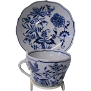 Japanese Porcelain Cup and Saucer Set, Blue Danube, Blue Onion Pattern