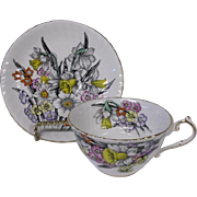 English Bone China Daffodils Teacup and Saucer