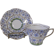 English Bone China Soft Blue Flowers Cup and Saucer