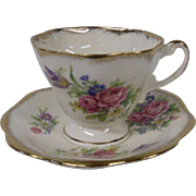 Foley China Teacup and Saucer, Tulips and Roses