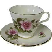Crown Trent of England Bone China Cup and Saucer, Roses