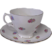 English Fine Bone China Cup and Saucer, Softly Hued Flowers