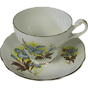 English Fine Bone China Cup and Saucer, Blue Iris