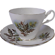 Vintage English Bone China Cup and Saucer, Acorns and Oak Leaves