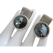 Montana Blue Rivoli Rhinestone and Mesh Wrap Cufflinks