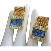 Sapphire and AB Rhinestone and Gold Tone Cufflinks
