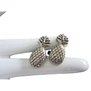 Silver Tone Pineapple Cufflinks