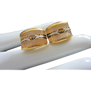 Vintage Mother of Pearl and Damascene Cufflinks
