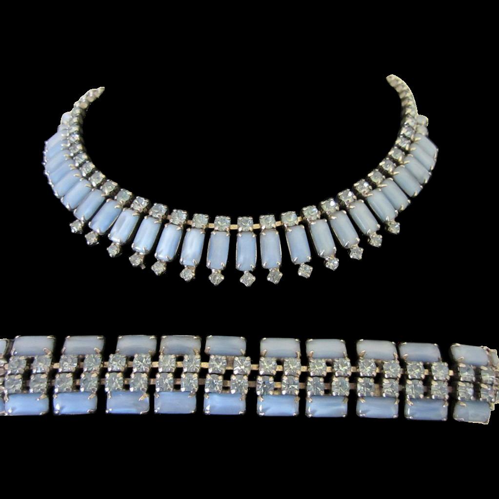 Vintage Pale Blue Moonstones and Rhinestones Necklace and Bracelet Demi Parure